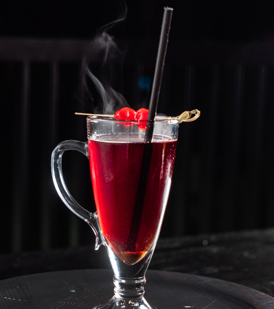 cherry mocktail in the bar