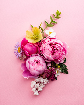 nice summer flowers on the pink background