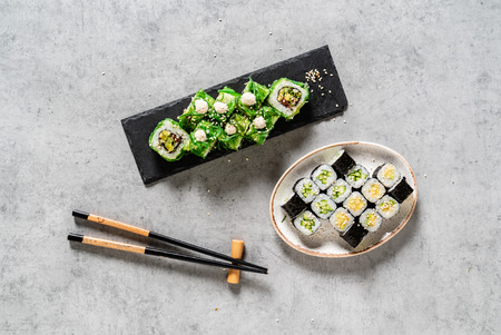 sushi set on the stone background