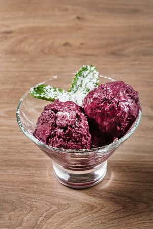 berry ice cream with mint