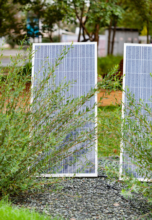 Mini stand electric solar cell in a garden