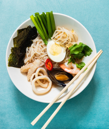 noodle with mussels, shrimps and seaweed Stock Photo