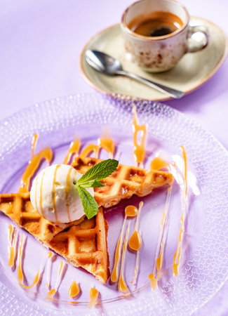 belgian waffles with ice cream and coffee