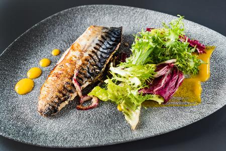 grilled mackerel with fresh salad