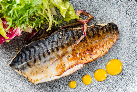 grilled mackerel with fresh salad