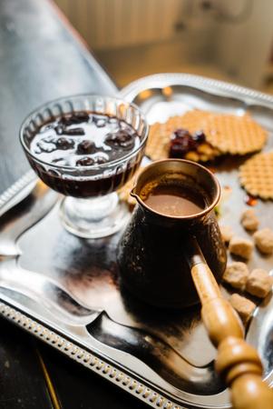 tasty breakfast - waffles, coffee and jam 版權商用圖片
