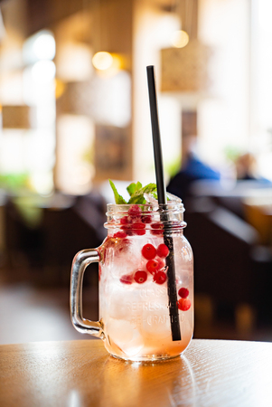 cranberry mocktail in the glass jar