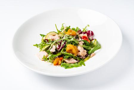 salad with tuna on the white plate 版權商用圖片