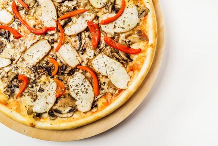 tasty pizza on the white, top view 版權商用圖片 - 123768652