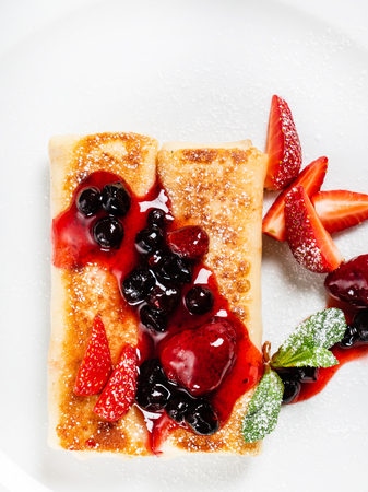 crepes with strawberry and cottage cheese