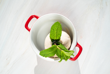 ice cream ball with mint 版權商用圖片 - 123768705