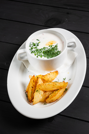 cold soup with baked potatoes 版權商用圖片