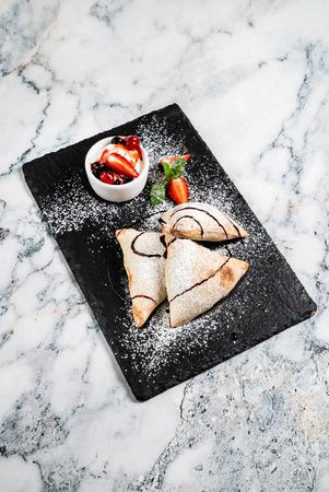 italian cake withe ice cream and strawberries