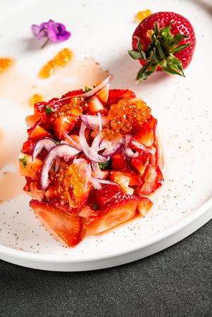 strawberry tartare with avocado and caviar Archivio Fotografico - 125600066