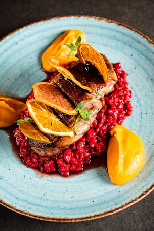 duck breast with barley
