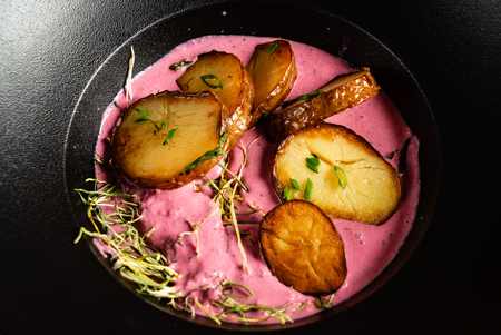 cold beetroot soup with baked potato