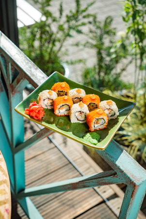 Summer set of sushi, outdoor