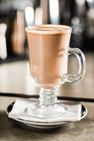 Cacao with cinnamon in the cafe Stock Photo