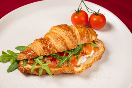 croissant with smoked salmon and cream cheese