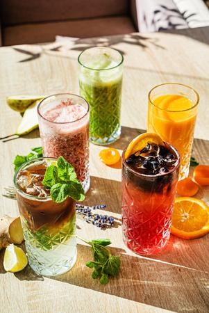 set of different kinds of smoothie Banco de Imagens