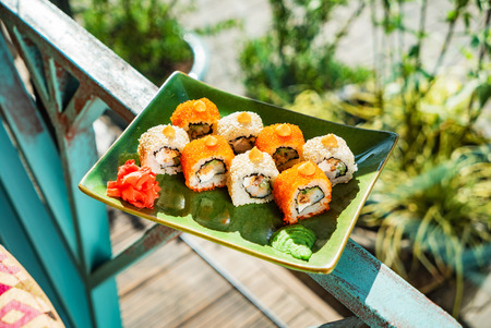 summer set of sushi, outdoor