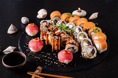 Sushi on the black 免版税图像