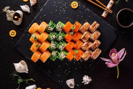sushi on the black backround