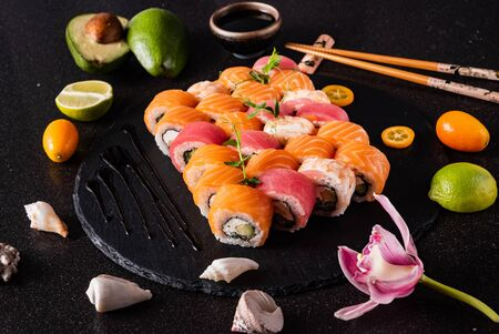 Sushi on the black Banco de Imagens