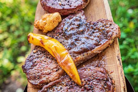 Grilled steaks with grilled vegetables