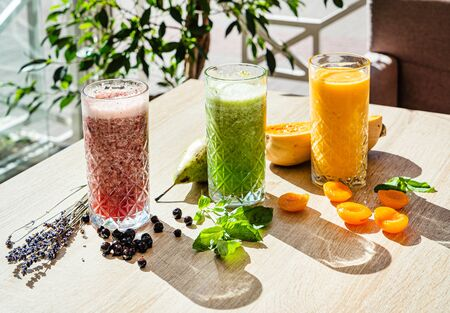 Fit smoothie with fruit and herbs 스톡 콘텐츠