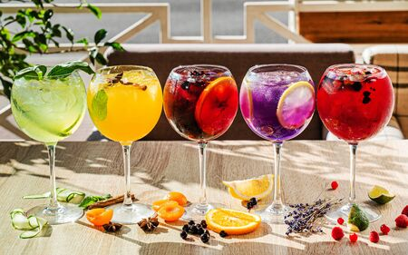 Summer cocktails on the table