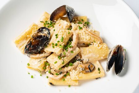 Pasta with mussels and cheese Stock fotó - 125267470