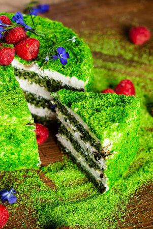 spinach cake with fresh raspberries