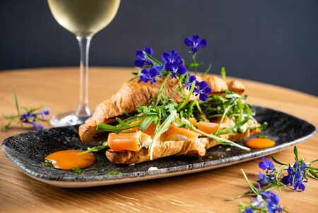 croissant with salmon and cream cheese