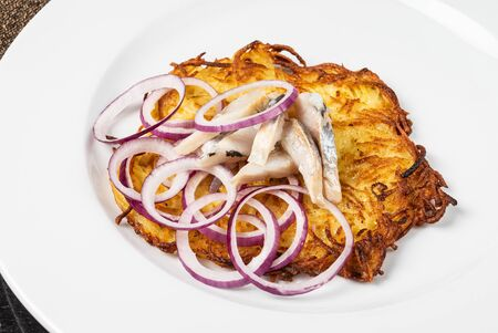potato pancake on the white plate Stock Photo