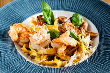 Pasta with shrimps and boletus