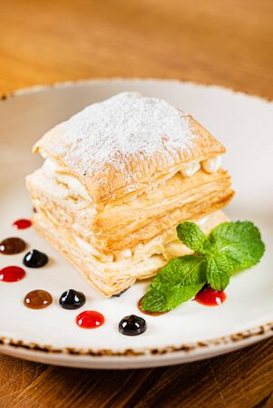 Puff pastry cake with vanilla cream