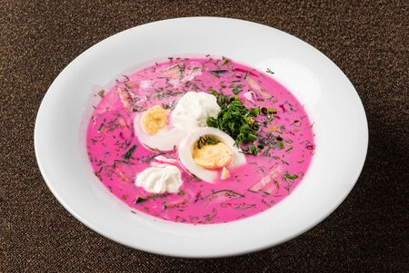 Beetroot cold soup with egg