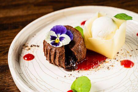 chocolate cake with ice cream Stok Fotoğraf