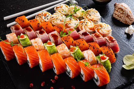 sushi set on the black background