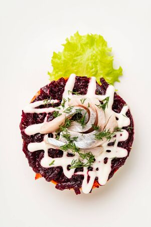 beetroot salad with herring Stok Fotoğraf