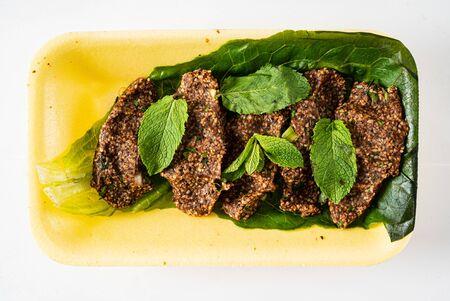 traditional Turkish cutlets (Çiğ köfte) Stock Photo