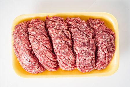 beef minced meat on the white