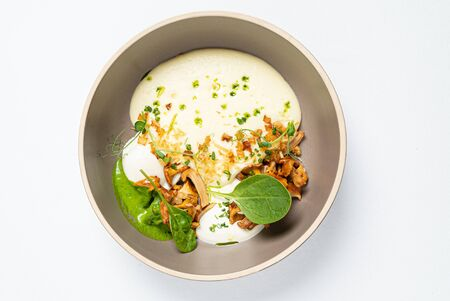 chanterelles with poached egg and spinach mousse