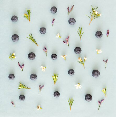 fresh blueberries with flowers on the blue background, healthy concept 版權商用圖片 - 128582867