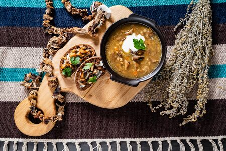autumn mushroom soup with toasts