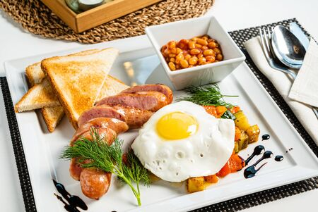 traditional breakfast in the cafe Stock Photo