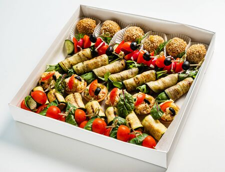 tasty appetizers in the box Banco de Imagens