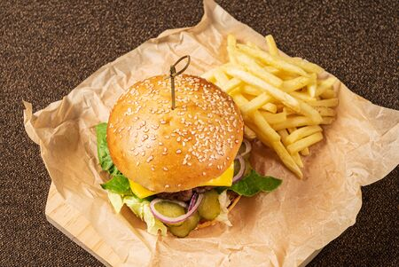 burger with french fries on the parchment Zdjęcie Seryjne