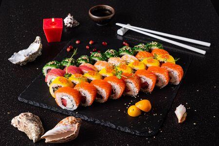sushi set on the black background 写真素材 - 129455702